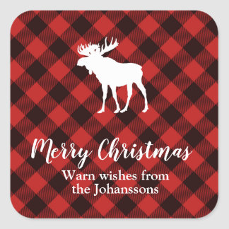 Moose and Buffalo Red and Black Plaid Christmas Square Sticker