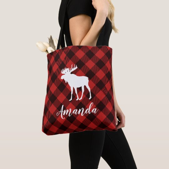 Moose and Buffalo Red Plaid Pattern Christmas Tote
