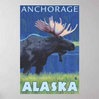 Moose at Night - Anchorage, Alaska Poster