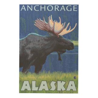 Moose at Night - Anchorage, Alaska Wood Wall Decor