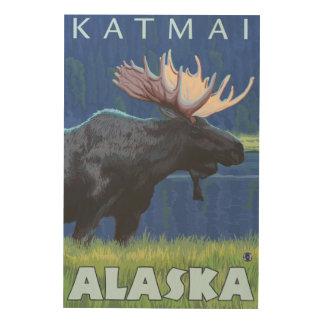 Moose at Night - Katmai, Alaska Wood Print