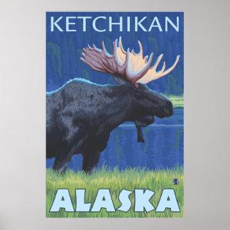 Moose at Night - Ketchikan, Alaska Poster