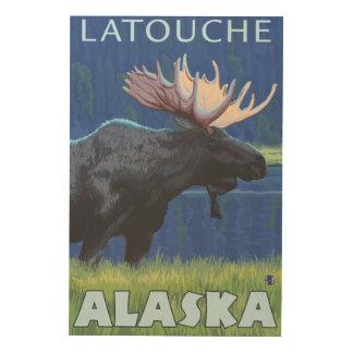 Moose at Night - Latouche, Alaska Wood Wall Decor