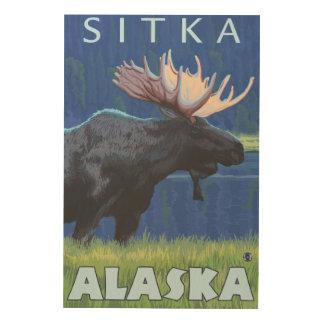 Moose at Night - Sitka, Alaska Wood Print