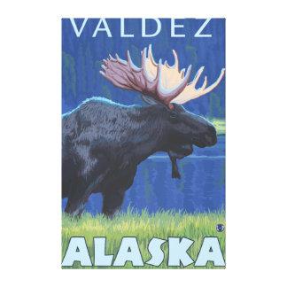 Moose at Night - Valdez, Alaska Gallery Wrap Canvas