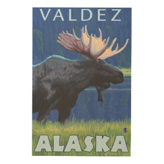 Moose at Night - Valdez, Alaska Wood Print