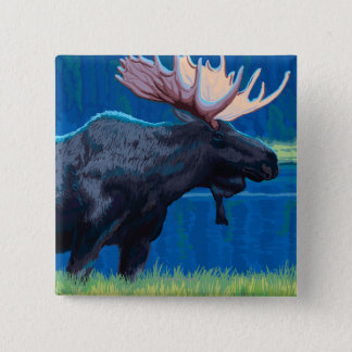 Moose at Night - West Yellowstone, Montana 15 Cm Square Badge