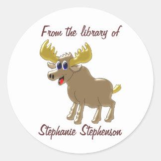 Moose Bookplate Round Sticker