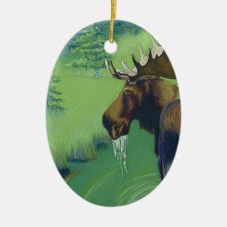 Moose Ceramic Oval Decoration
