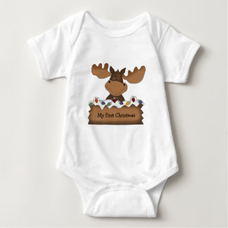 Moose Christmas (customizable) Baby Bodysuit