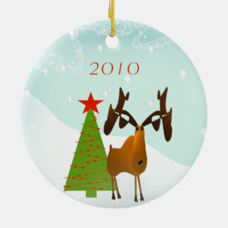 Moose Christmas Family Photo Ornament