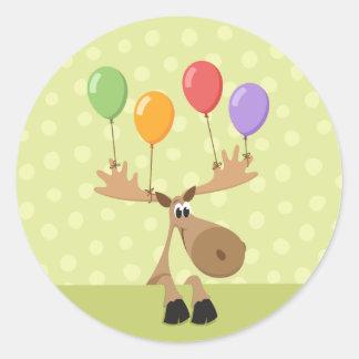 Moose colorful balloons envelope seal/label round sticker