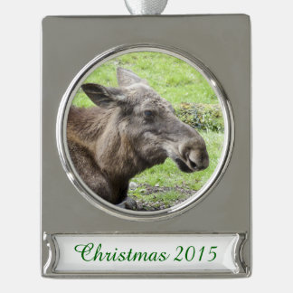 Moose Cow Profile Shot Silver Plated Banner Ornament