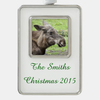 Moose Cow Profile Shot Silver Plated Framed Ornament