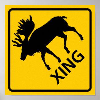 Moose Crossing Highway Sign