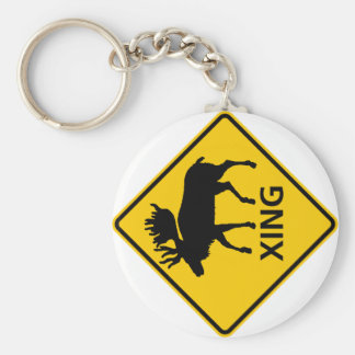 Moose Crossing Highway Sign Basic Round Button Key Ring
