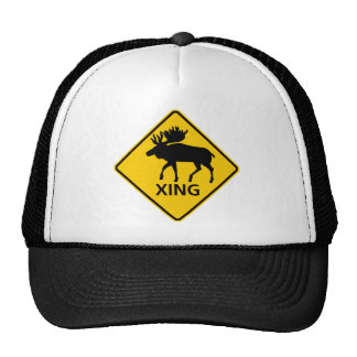 Moose Crossing Highway Sign Trucker Hat