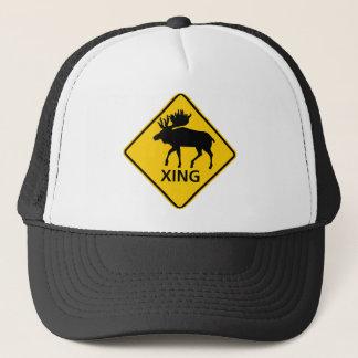 Moose Crossing Highway Sign Trucker Hat