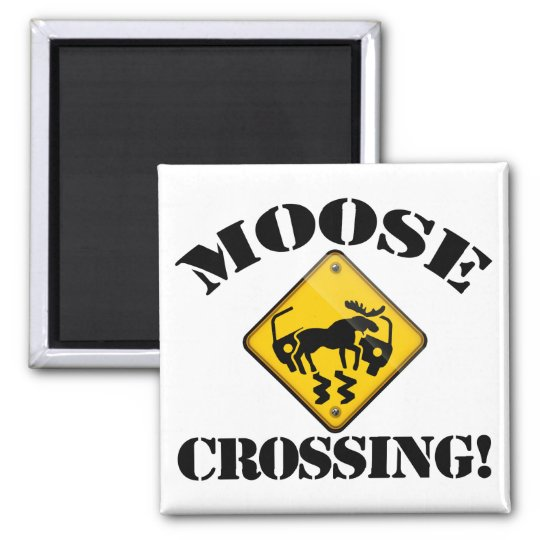 Moose Crossing Sign Square Magnet