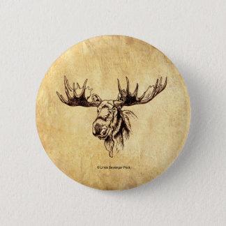 Moose Drawing Sepia 6 Cm Round Badge
