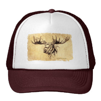 Moose Drawing Sepia Cap