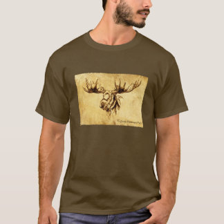 Moose Drawing Straight Edges T-Shirt