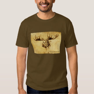 Moose Drawing Straight Edges T-shirts