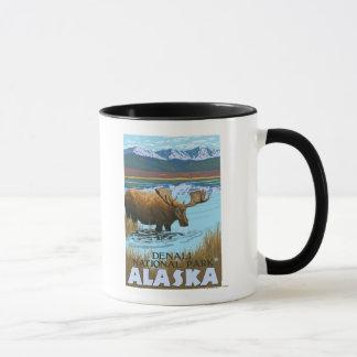 Moose Drinking at Lake - Denali National Park, Mug