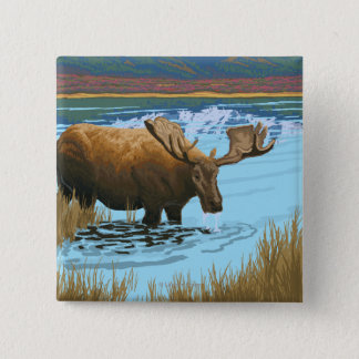 Moose Drinking at Lake - Glacier National Park, 15 Cm Square Badge