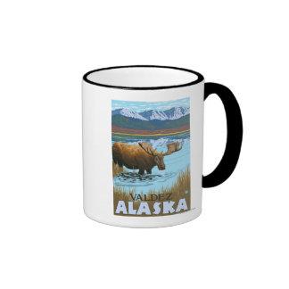 Moose Drinking at Lake - Valdez, Alaska Mugs