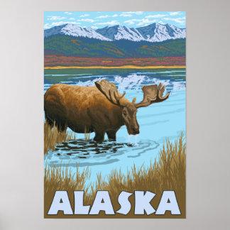 Moose Drinking Water Vintage Travel Poster
