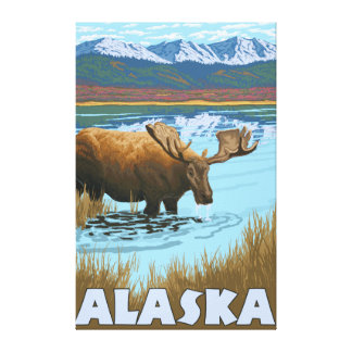 Moose Drinking Water Vintage Travel Poster Stretched Canvas Print