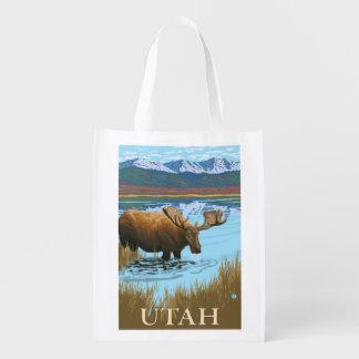 Moose DrinkingUtah Reusable Grocery Bag