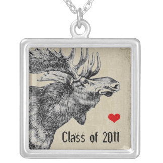 Moose Graduation Change to Your Graduation Year Silver Plated Necklace