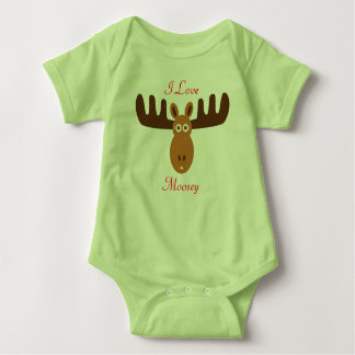 Moose Head_I Love Moosey_whimsical & humorous Baby Bodysuit