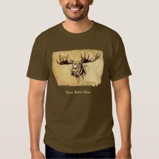 Moose Head Ink Drawing Sepia Tshirt
