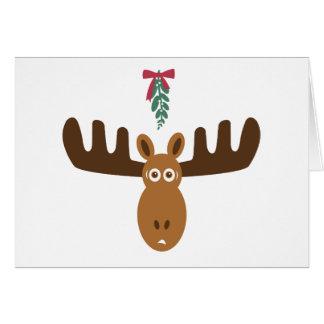 Moose Head_Meet Me Under The Mooseltoe Greeting Cards