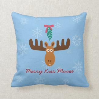 Moose Head_Merry Kiss Moose_Happy Gnu Year! Cushion
