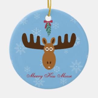 Moose Head_Merry Kissmoose_Happy Gnu Year! Round Ceramic Decoration