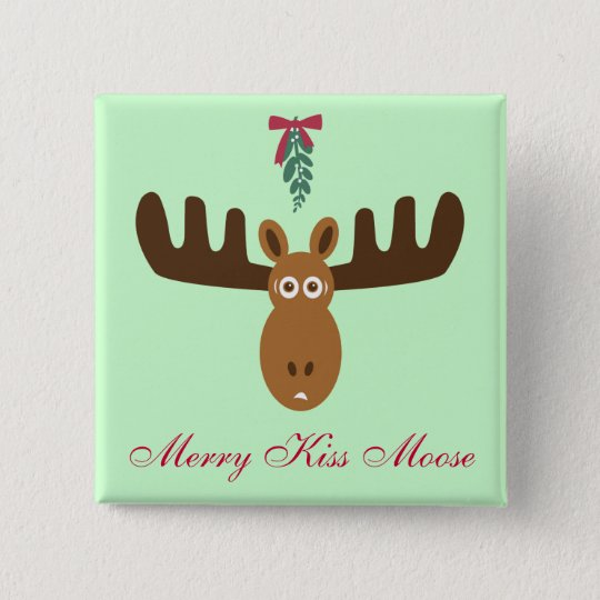 Moose Head_Mooseltoe_Merry Kiss Moose 15 Cm Square Badge