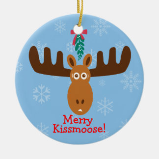 Moose Head_Mooseltoe_Merry Kissmoose! Christmas Ornament