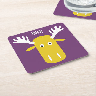 Moose Head Pop Art custom monogram paper coasters