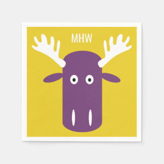 Moose Head Pop Art custom monogram paper napkins Disposable Napkin