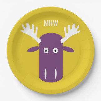 Moose Head Pop Art custom monogram paper plates