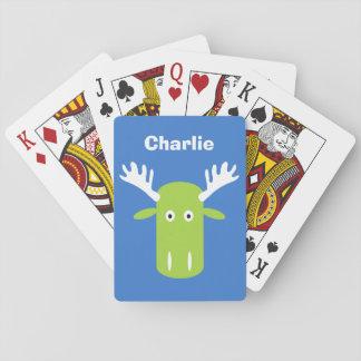 Moose Head Pop Art custom monogram playing cards