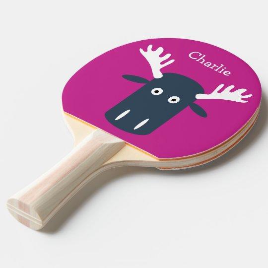 Moose Head PopArt custom monogram ping pong paddle