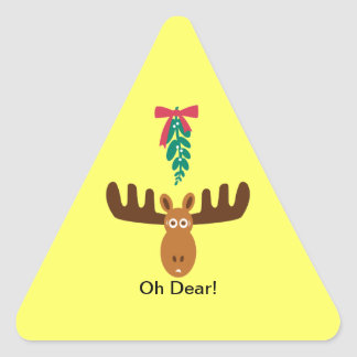Moose Head_Road Sign_Mistletoe_Oh Dear! Triangle Sticker