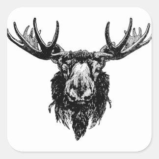 Moose head square sticker