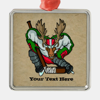 Moose Hockey Christmas Ornament