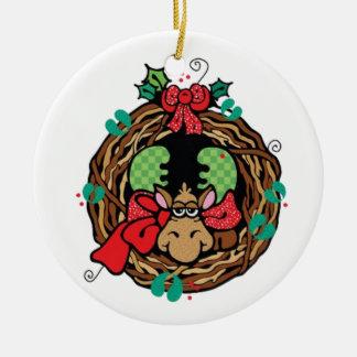 Moose Holiday Wreath Christmas Ornament